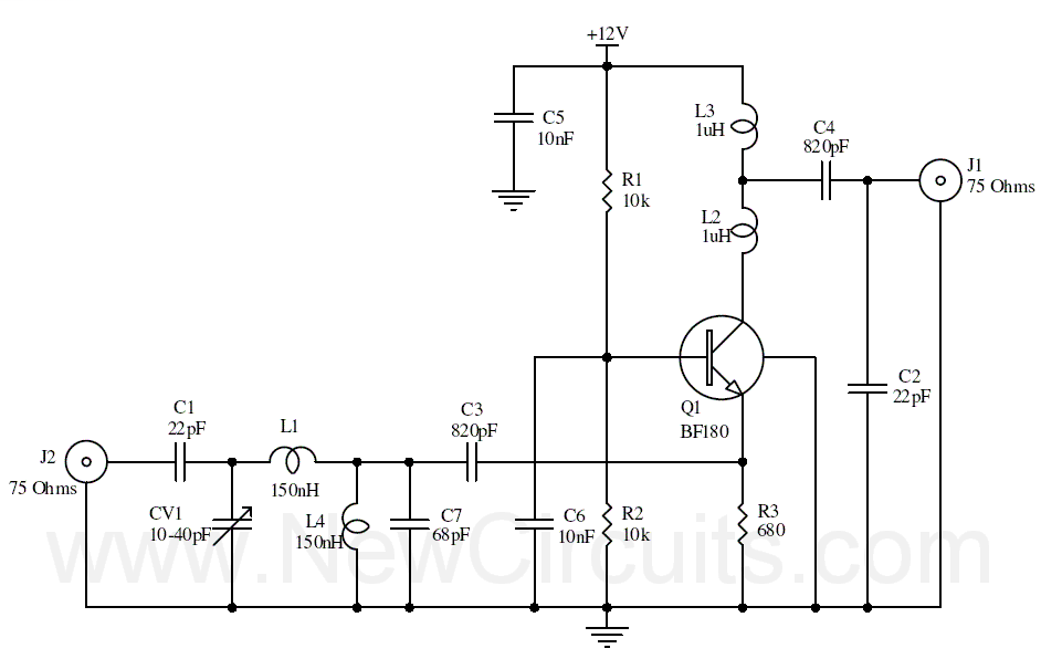 This is an UHF band TV antenna preamplifier circuit With 15dB gain to build easily.  It is formed based on BF180 UHF...