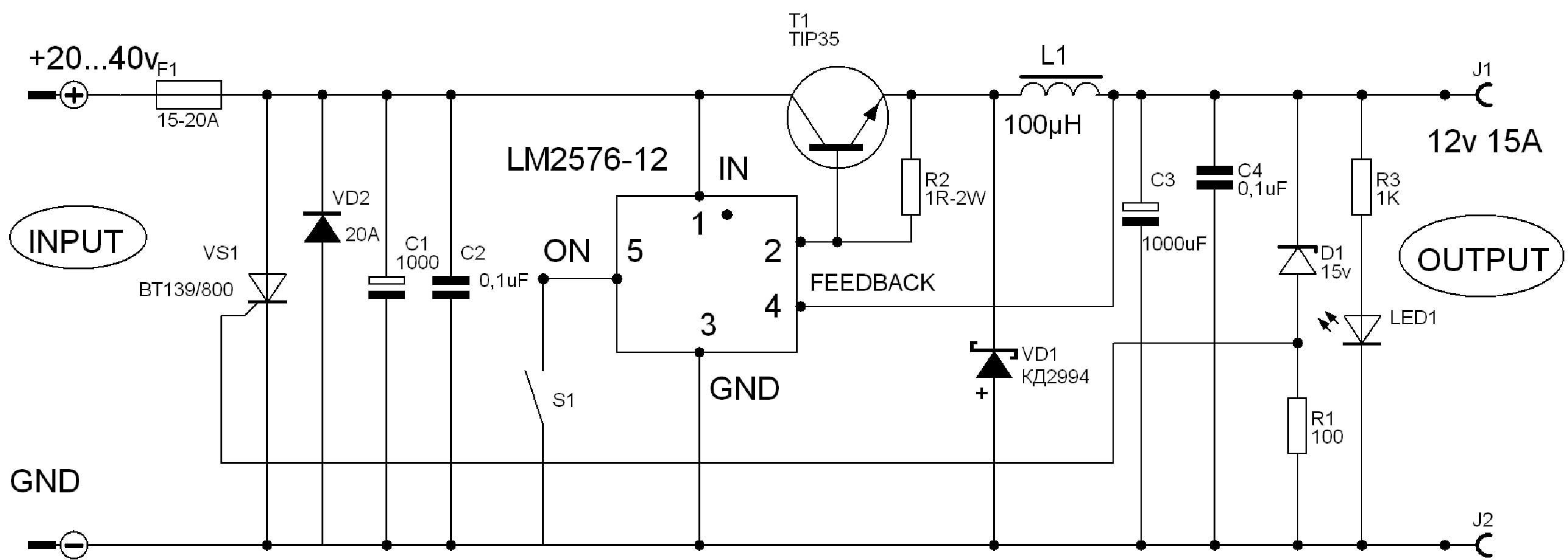 Схема автомобильного преобразователя напряжения 24-12 в