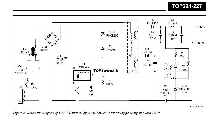 Reprinted Url Of This Article: http://www.seekic.com/circuit_diagram/Power_Supply_Circuit/Application_circuit_of_single_chip_switching_power_supply_TOP221_TOP227.html